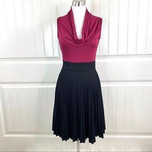 Soprano Burgundy Cowlneck Black Pleated Knit Dress